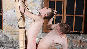Restrained against a cross, Justin James can't ...
