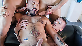 Alessio Romero Barebacks With Jimmie Slater, Adam Isaacs, And BJ Rhubarb