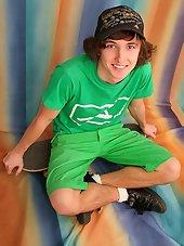 cute skater teen boy with long hairs