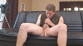 Rod strokes his cock while spying on one of the neighbors.