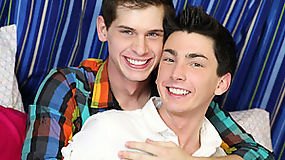 Sweet twink Colby London is sucking a lollipop and fucking in the bedroom with Jayden Ellis