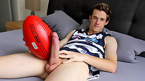 Hung Aussie boy Brad Hunter stripping out of his footy gear