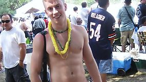 Hunk dudes were partying topless outdoor with hot chicks