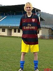 Sexy blonde soccer teen boy