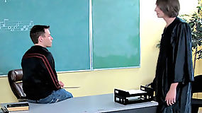 Spencer and his see-through gown charm teacher into teaching him desk sex